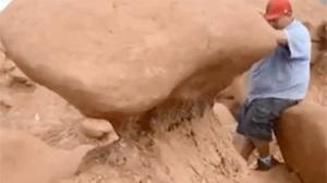 pushing over rock