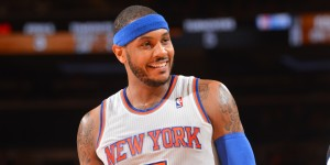 NEW YORK, NY - JANUARY 22: Carmelo Anthony #7 of the New York Knicks smiles against the Philadelphia 76ers during the game on January 22, 2014 at Madison Square Garden in New York City, New York.   NOTE TO USER: User expressly acknowledges and agrees that, by downloading and or using this photograph, User is consenting to the terms and conditions of the Getty Images License Agreement. Mandatory Copyright Notice: Copyright 2013 NBAE (Photo by Jesse D. Garrabrant/NBAE via Getty Images)